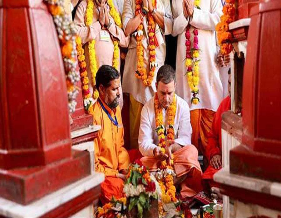 Rahul begins MP poll campaigns, prays at Maa Peetambara Peeth