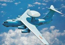 Chinese military tests overwhelming aerial delivery with a transport aeroplane.