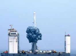 China launches first rocket from mobile platform at sea