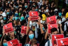 Protesters in Hong Kong protests over an extradition bill with mainland China